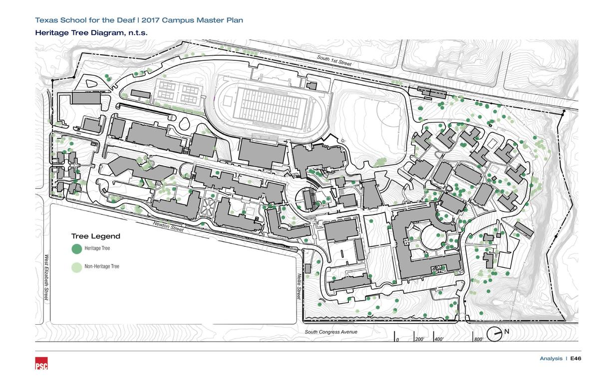 Texas School for the Deaf   2017 Campus Master Plan Heritage Tree Diagram, n.t.s.  Tree Legend Heritage Tree Non-Heritage ...