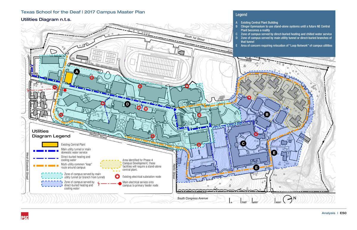 Texas School for the Deaf   2017 Campus Master Plan Utilities Diagram n.t.s.  Legend A B C D E  Existing Central Plant Bui...