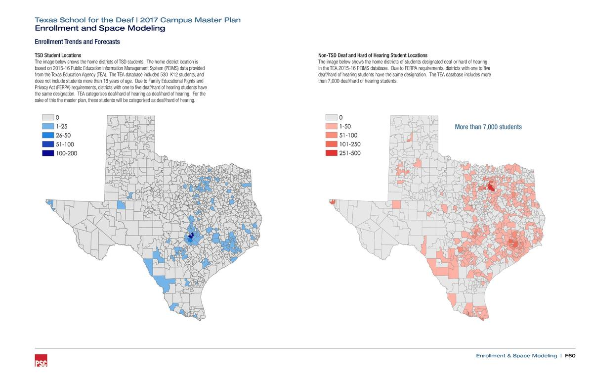 Texas School for the Deaf   2017 Campus Master Plan  Enrollment and Space Modeling Enrollment Trends and Forecasts  TSD St...