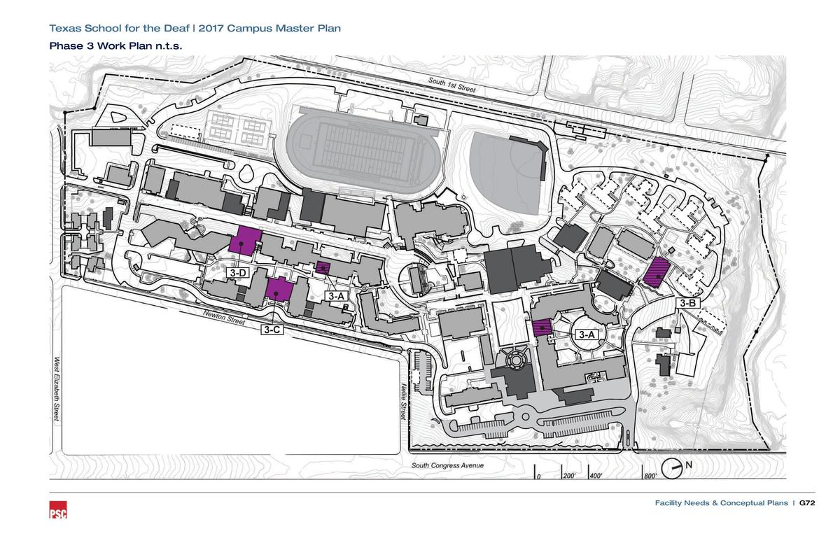 Texas School for the Deaf   2017 Campus Master Plan Phase 3 Work Plan n.t.s.  3-D 3-A 3-C  3-B 3-A  Facility Needs   Conce...