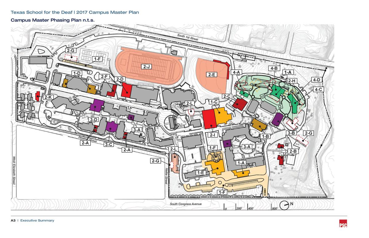 Texas School for the Deaf   2017 Campus Master Plan Campus Master Phasing Plan n.t.s.  2-G  1-F 2-J  1-D  2-F  2-E  2-D  4...