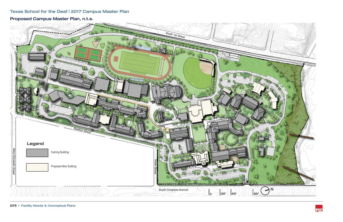 Texas School for the Deaf   2017 Campus Master Plan Proposed Campus Master Plan, n.t.s.  Legend Existing Building  Propose...