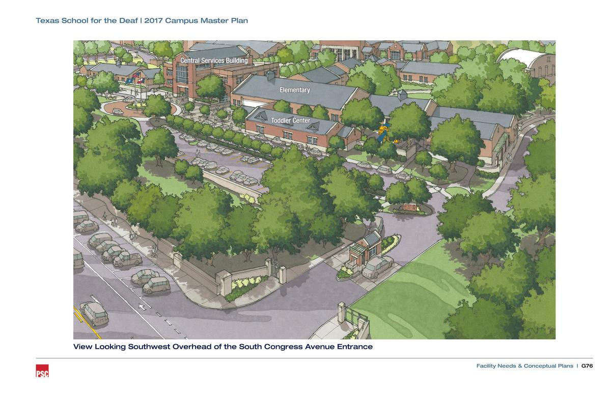Texas School for the Deaf   2017 Campus Master Plan  Central Services Building  Elementary  Toddler Center  View Looking S...