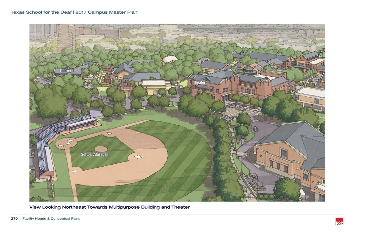 Texas School for the Deaf   2017 Campus Master Plan  Outreach Theater  Softball Baseball  View Looking Northeast Towards M...