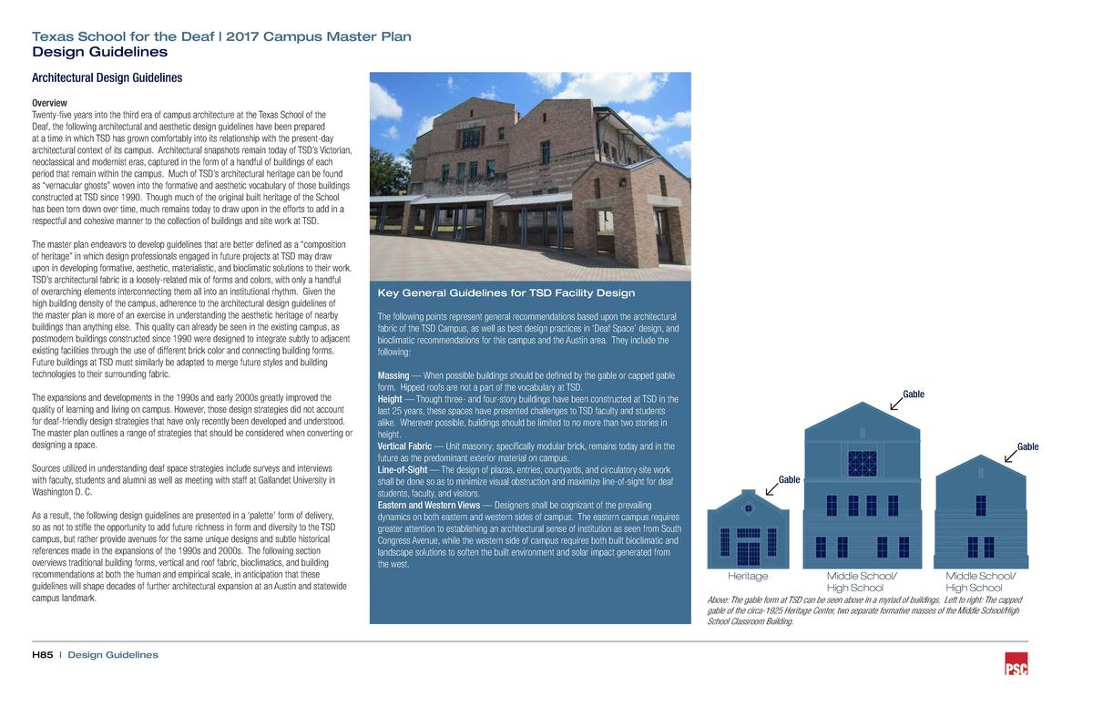 Texas School for the Deaf   2017 Campus Master Plan  Design Guidelines  Architectural Design Guidelines Overview Twenty-fi...