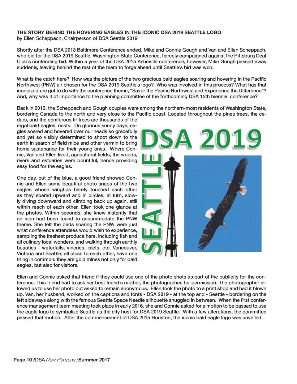 THE STORY BEHIND THE HOVERING EAGLES IN THE ICONIC DSA 2019 SEATTLE LOGO by Ellen Scheppach, Chairperson of DSA Seattle 20...