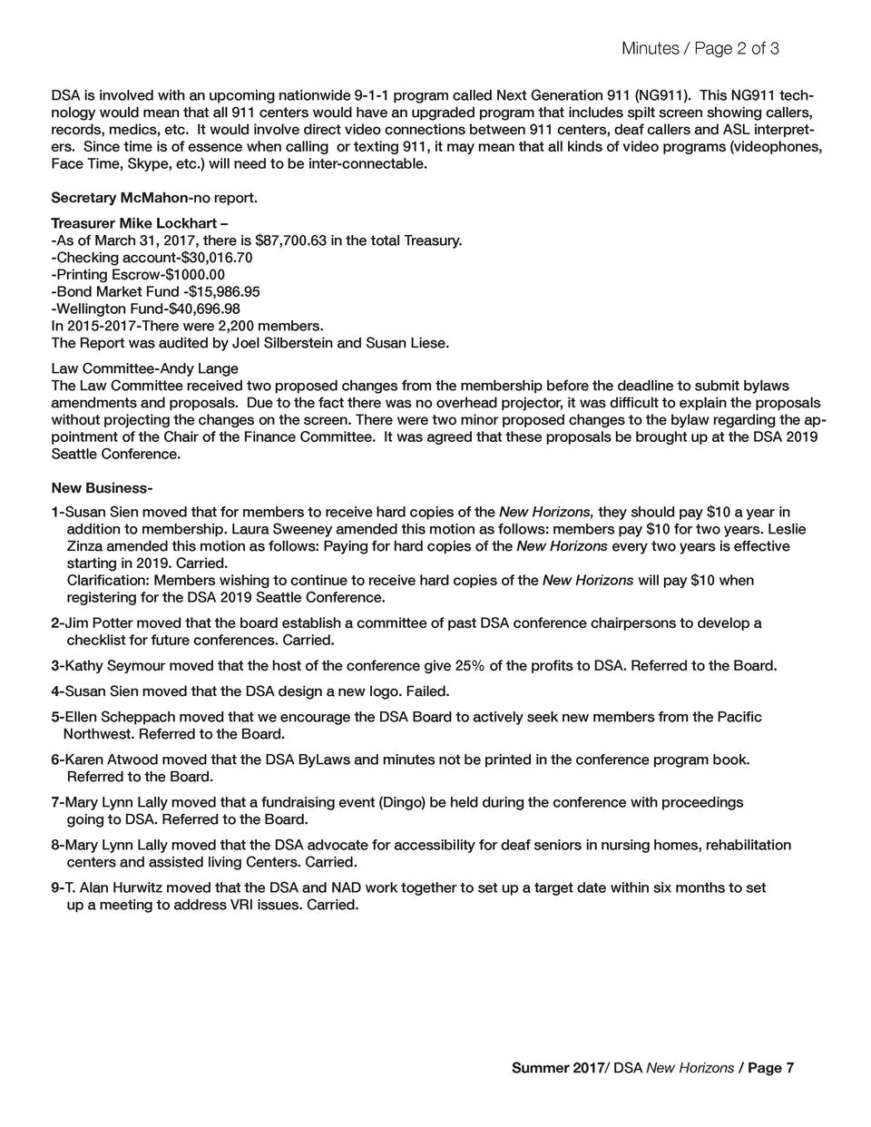 Minutes   Page 2 of 3 DSA is involved with an upcoming nationwide 9-1-1 program called Next Generation 911  NG911 . This N...