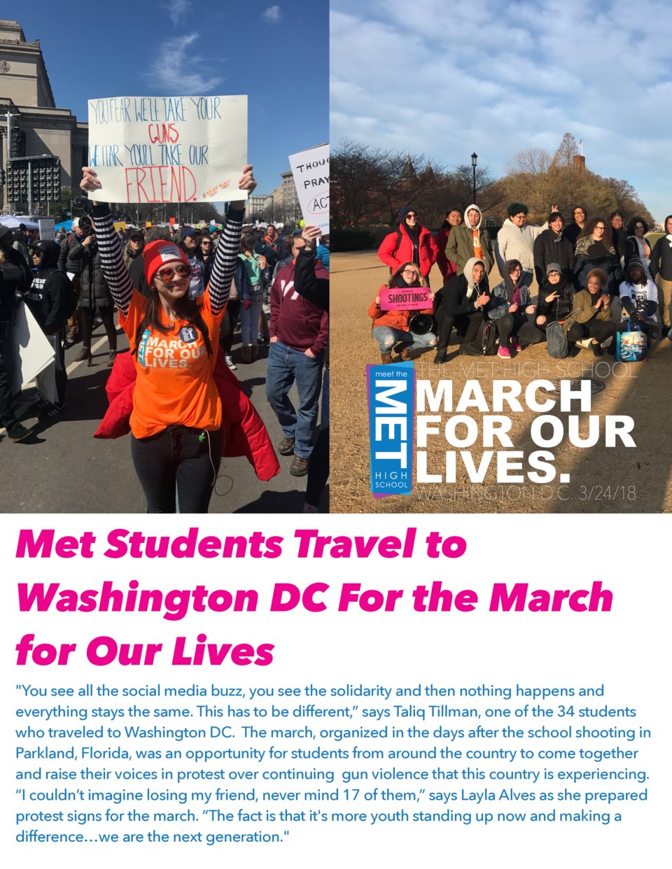 Met Students Travel to Washington DC For the March for Our Lives  You see all the social media buzz, you see the solidarit...