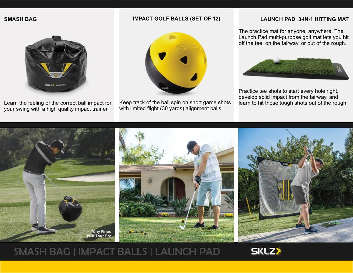 SMASH BAG  IMPACT GOLF BALLS  SET OF 12   LAUNCH PAD 3-IN-1 HITTING MAT The practice mat for anyone, anywhere. The Launch ...