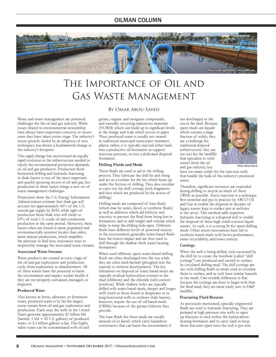 OILMAN COLUMN  Photo Credit  qq47182080 - www.123RF.com  The Importance of Oil and Gas Waste Management By Omar Abou-Sayed...