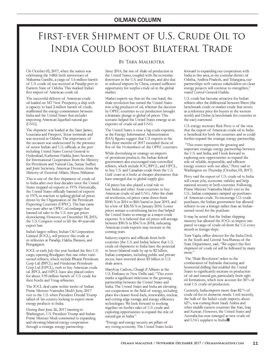OILMAN COLUMN  First-ever Shipment of U.S. Crude Oil to India Could Boost Bilateral Trade By Tara Malhotra On October 02, ...