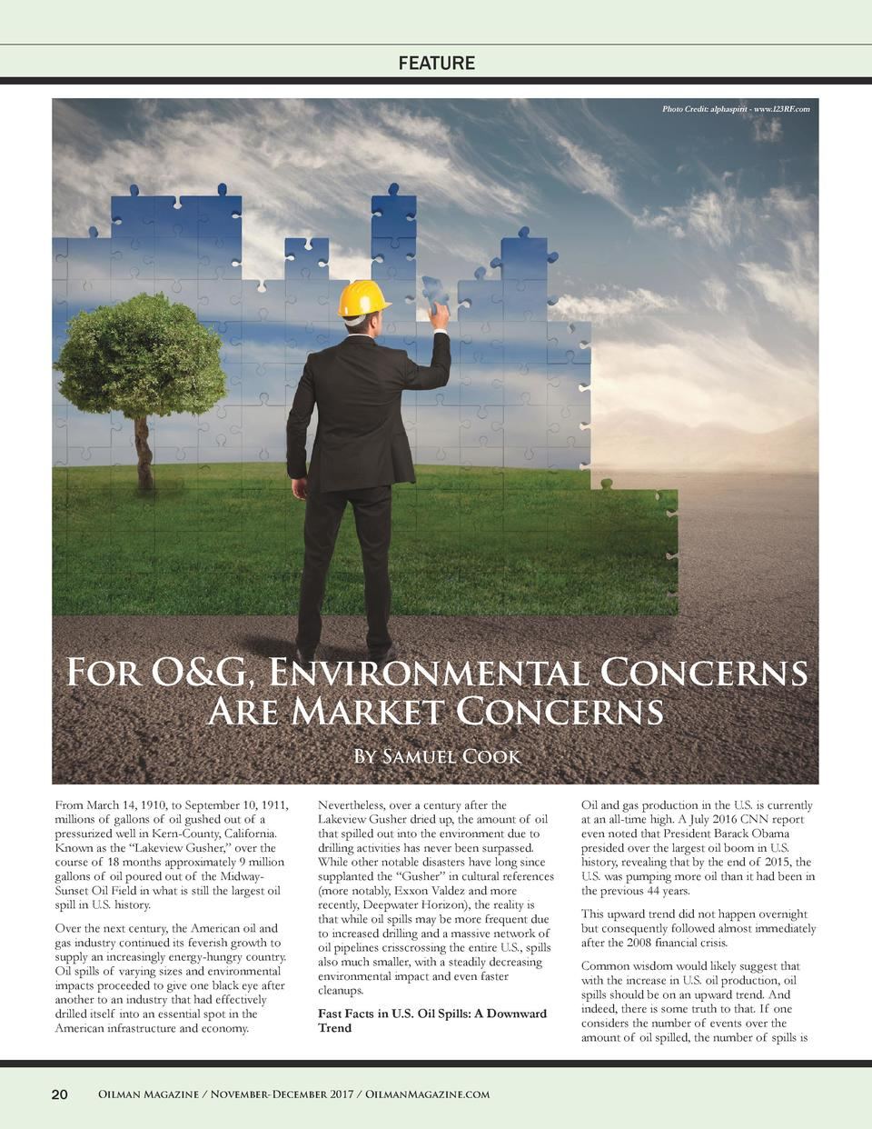 FEATURE Photo Credit  alphaspirit - www.123RF.com  For O G, Environmental Concerns Are Market Concerns By Samuel Cook From...