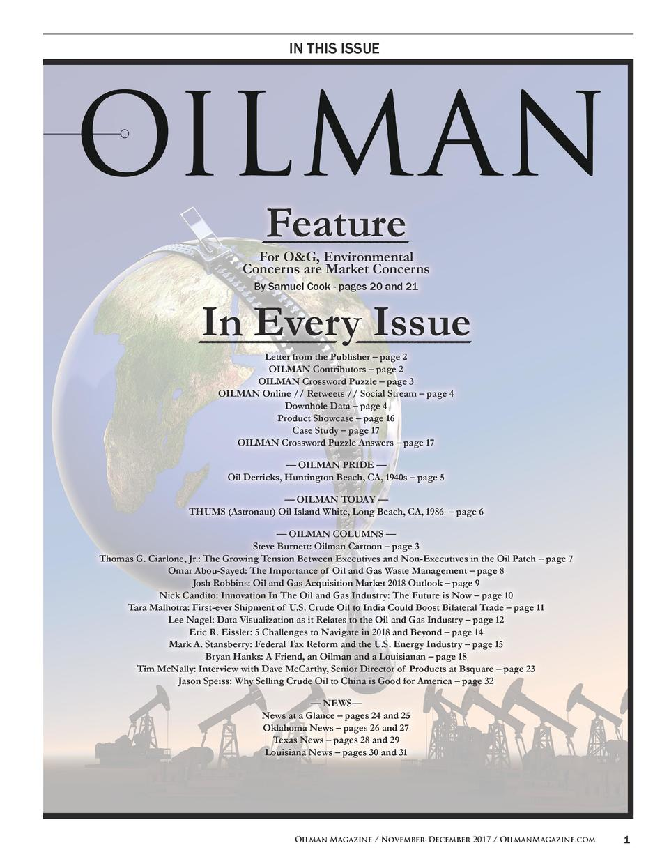 IN THIS ISSUE  Feature For O G, Environmental Concerns are Market Concerns By Samuel Cook - pages 20 and 21  In Every Issu...
