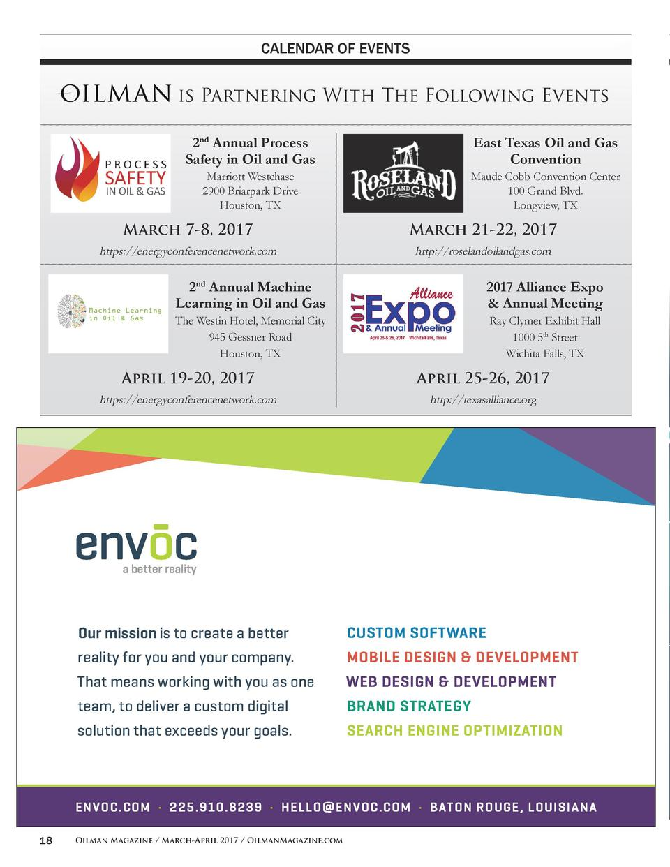 CALENDAR OF EVENTS  is Partnering With The Following Events 2nd Annual Process Safety in Oil and Gas  East Texas Oil and G...