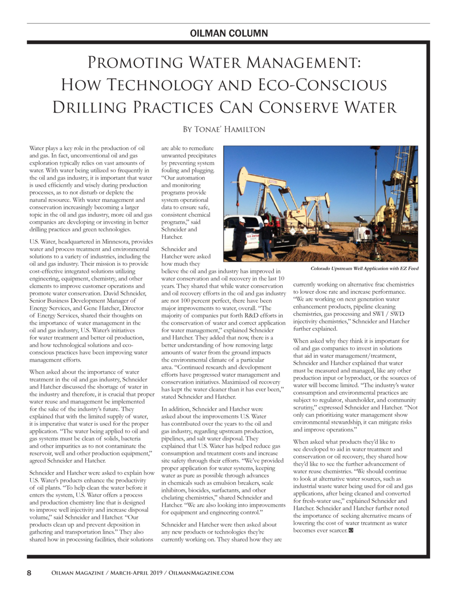 OILMAN COLUMN  Promoting Water Management  How Technology and Eco-Conscious Drilling Practices Can Conserve Water By Tonae...