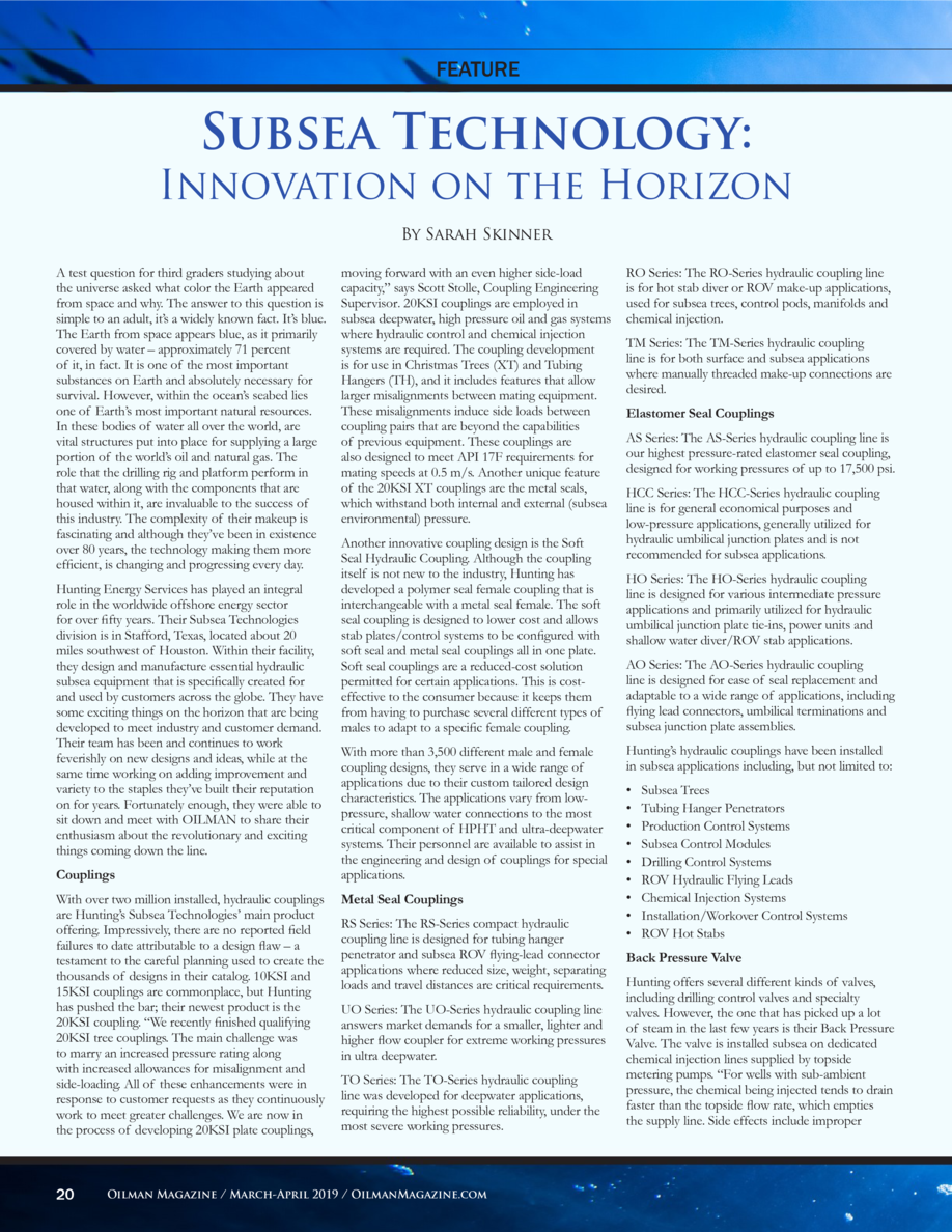 FEATURE  Subsea Technology   Innovation on the Horizon By Sarah Skinner A test question for third graders studying about t...
