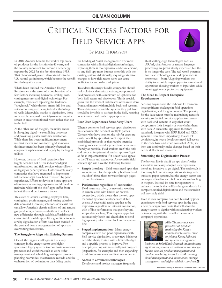 OILMAN COLUMN  Critical Success Factors for Field Service Apps By Mike Thompson In 2018, America became the world   s top ...