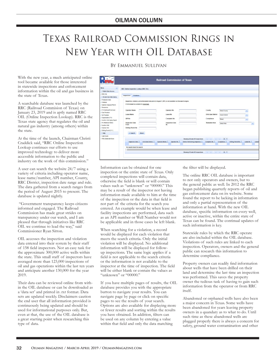 OILMAN COLUMN  Texas Railroad Commission Rings in New Year with OIL Database By Emmanuel Sullivan With the new year, a muc...