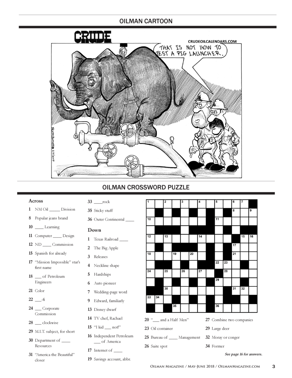 1111d49268c OILMAN CARTOON OILMAN CROSSWORD PUZZLE Across 33     rock 1 NM Oil        Division 35 Sticky stuff