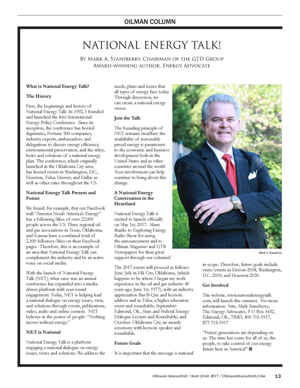 OILMAN COLUMN  NATIONAL ENERGY TALK  By Mark A. Stansberry, Chairman of the GTD Group Award-winning author, Energy Advocat...