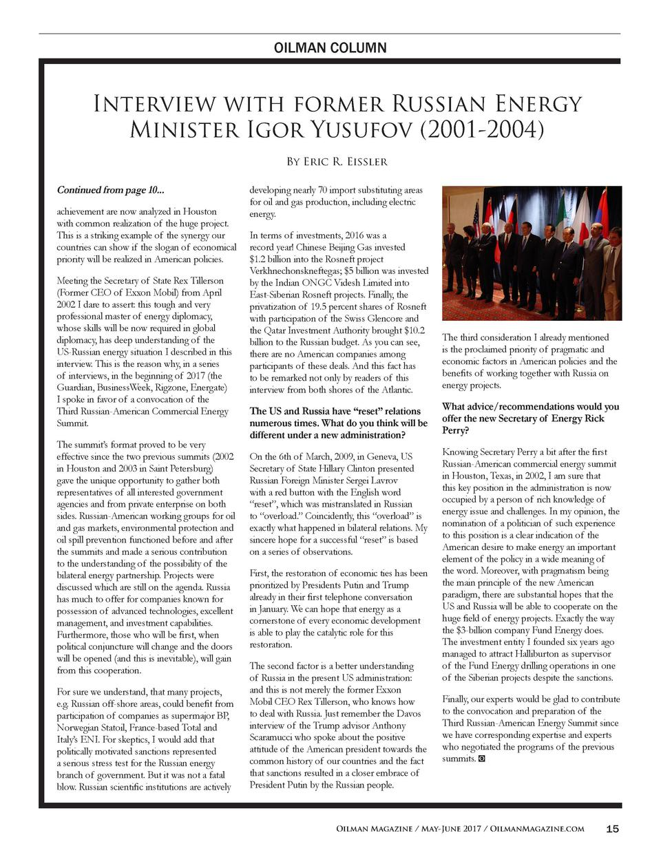OILMAN COLUMN  Interview with former Russian Energy Minister Igor Yusufov  2001-2004  By Eric R. Eissler  Continued from p...