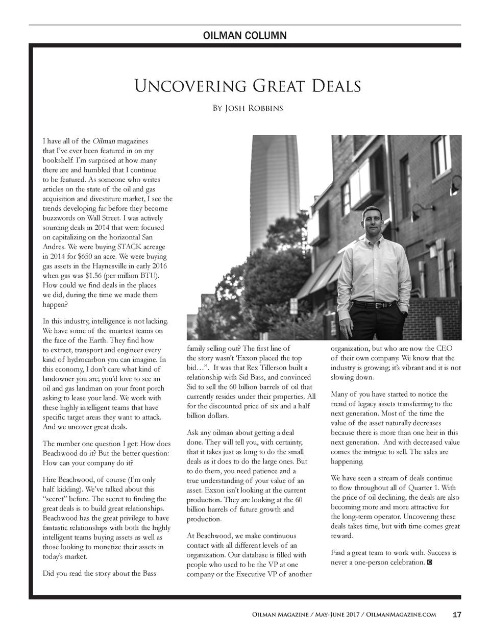 OILMAN COLUMN  Uncovering Great Deals By Josh Robbins  I have all of the Oilman magazines that I   ve ever been featured i...