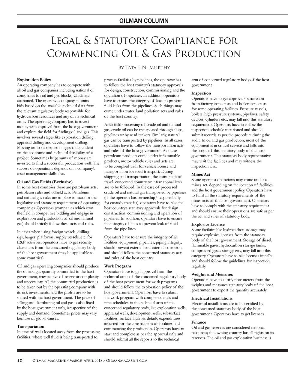 OILMAN COLUMN  Legal   Statutory Compliance for Commencing Oil   Gas Production By Tata L.N. Murthy Exploration Policy An ...