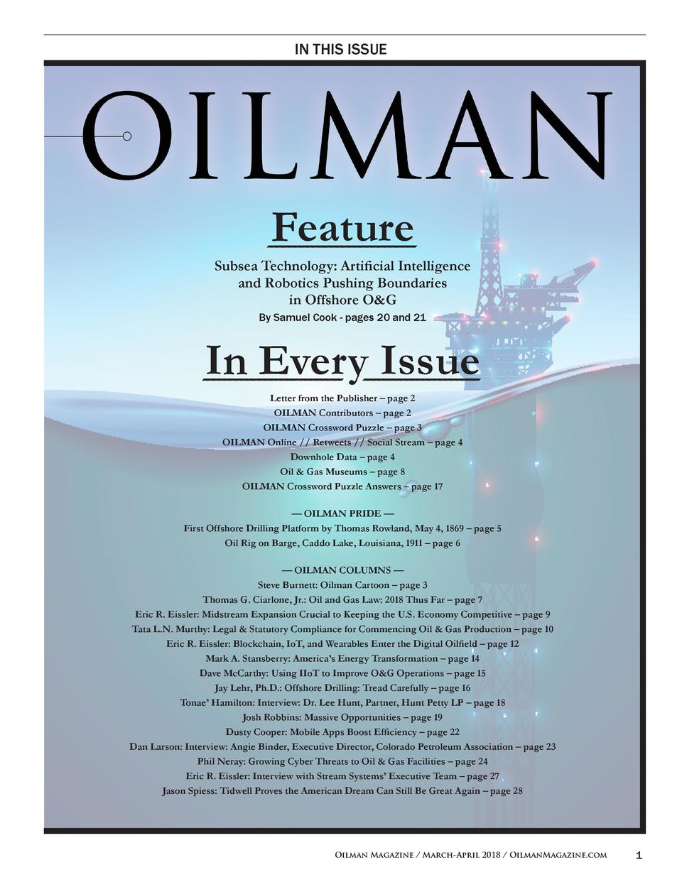 IN THIS ISSUE  Feature Subsea Technology  Artificial Intelligence and Robotics Pushing Boundaries in Offshore O G By Samue...