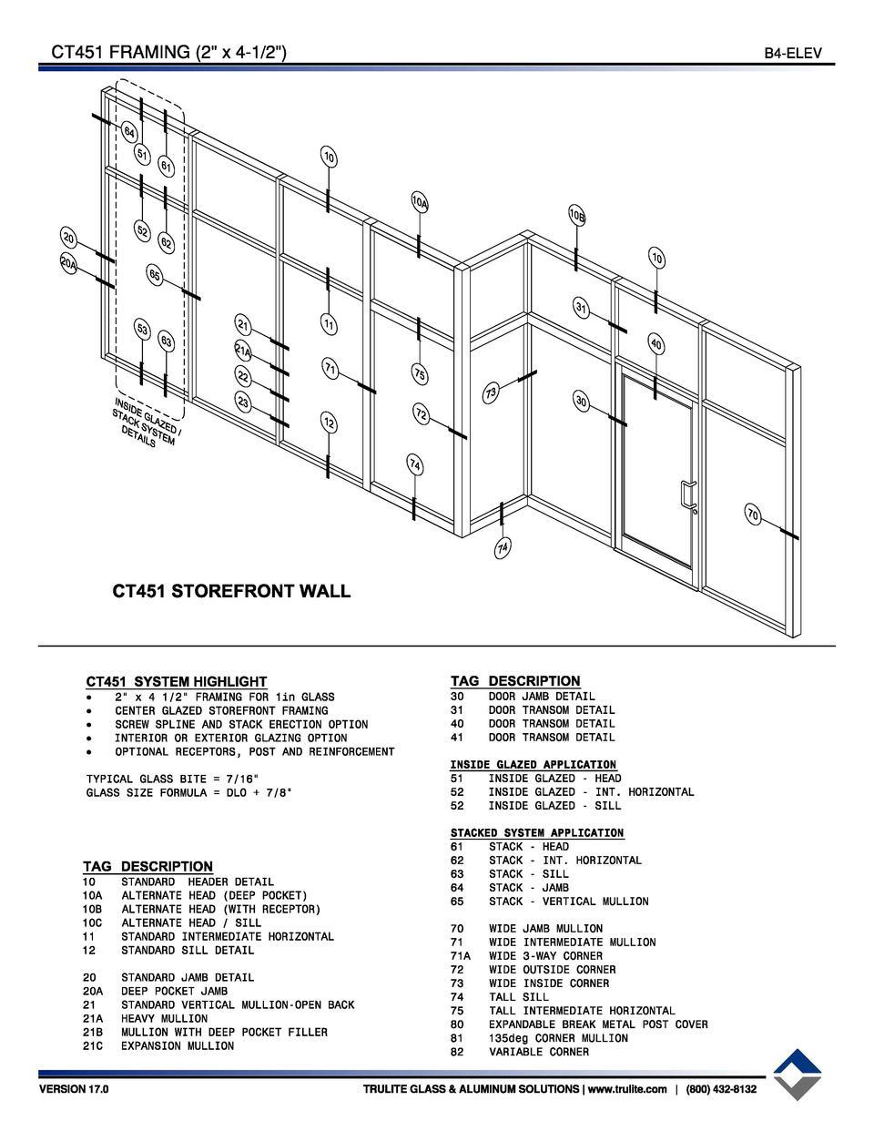 B4 CG450 STOREFRONT SYSTEM 1 3 4 x 4 1 2 CENTER GLAZED SYSTEM B1 1 CT451 S T O R E F R O N T DETAILBOOK 2 x 4 1 2 THERMAL CENTER GLAZED SYSTEM TRULITE TM ...  sc 1 st  SimpleBooklet & Trulite-CT451 : simplebooklet.com