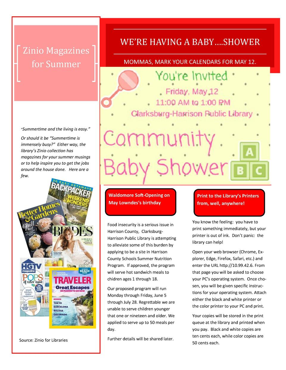 Zinio Magazines for Summer  WE   RE HAVING A BABY   .SHOWER MOMMAS, MARK YOUR CALENDARS FOR MAY 12.     Summertime and the...