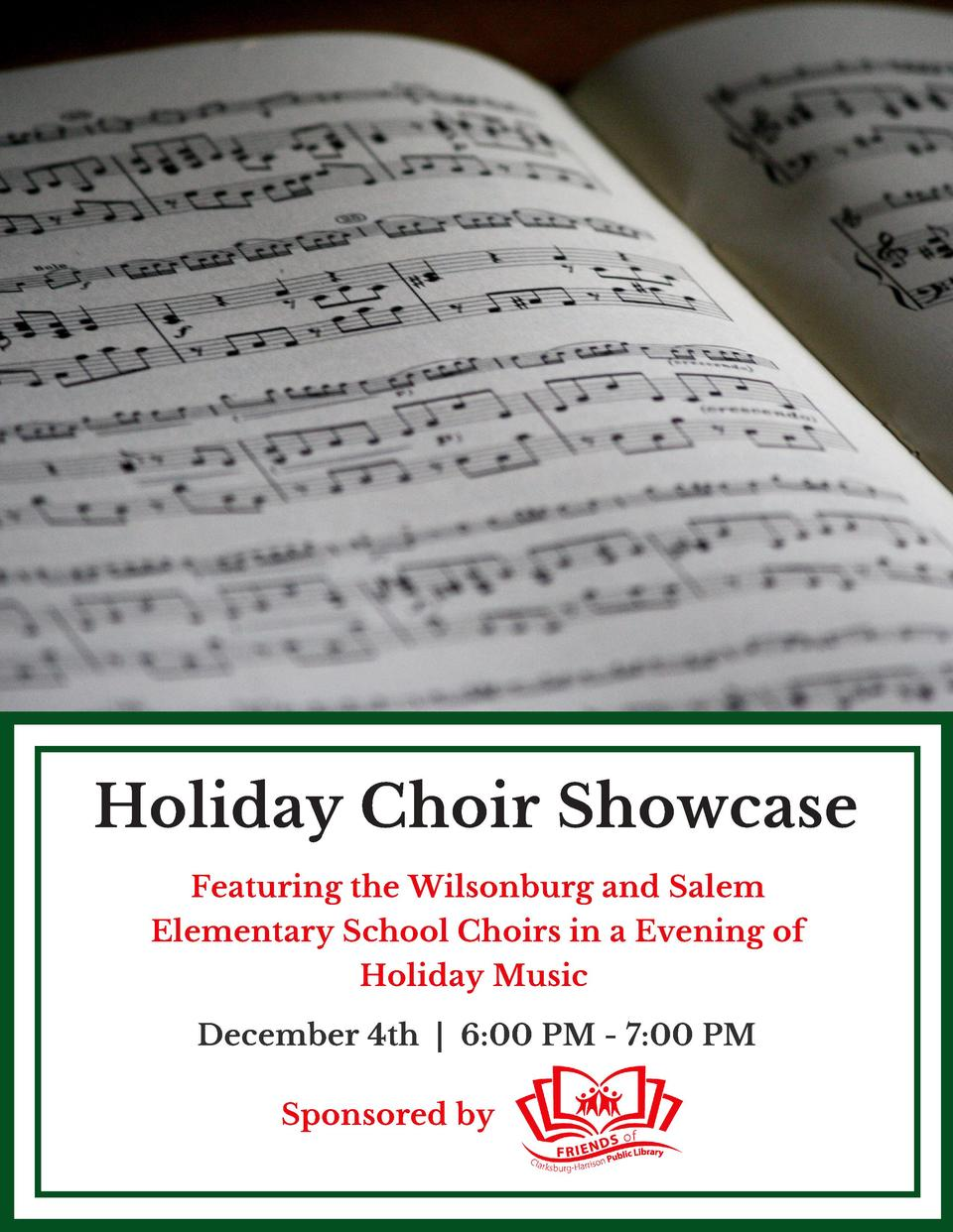 Holiday Choir Showcase Featuring the Wilsonburg and Salem Elementary School Choirs in a Evening of Holiday Music   Decembe...