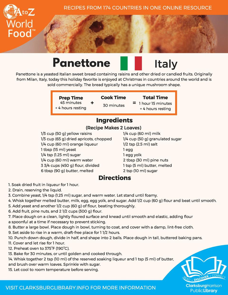 RECIPES FROM 174 COUNTRIES IN ONE ONLINE RESOURCE  Panettone  Italy  Panettone is a yeasted Italian sweet bread containing...