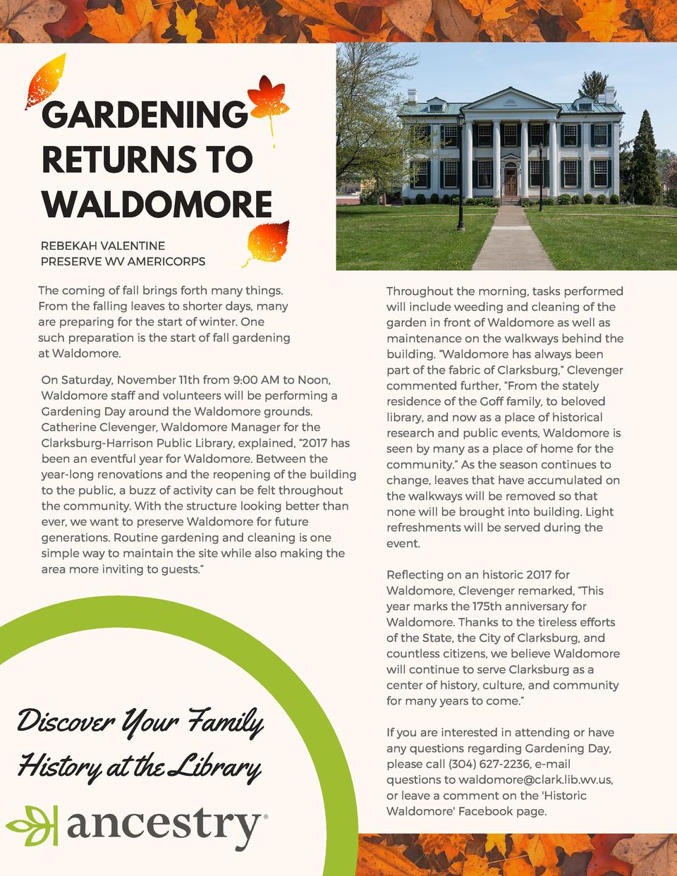 GARDENING RETURNS TO WALDOMORE REBEKAH VALENTINE PRESERVE WV AMERICORPS The coming of fall brings forth many things. From ...