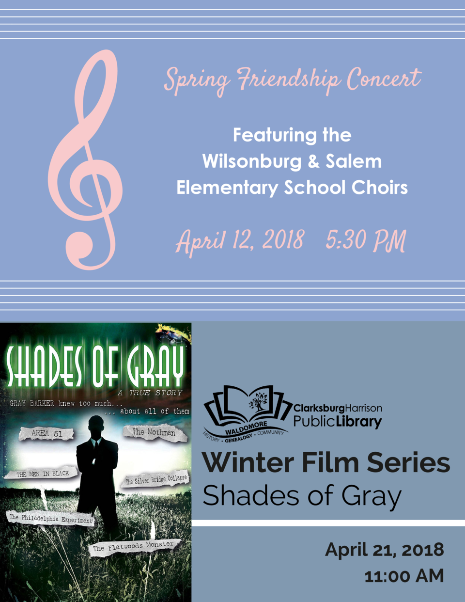 Spring Friendship Concert Featuring the Wilsonburg   Salem Elementary School Choirs  April 12, 2018     5 30 PM  Winter Fi...