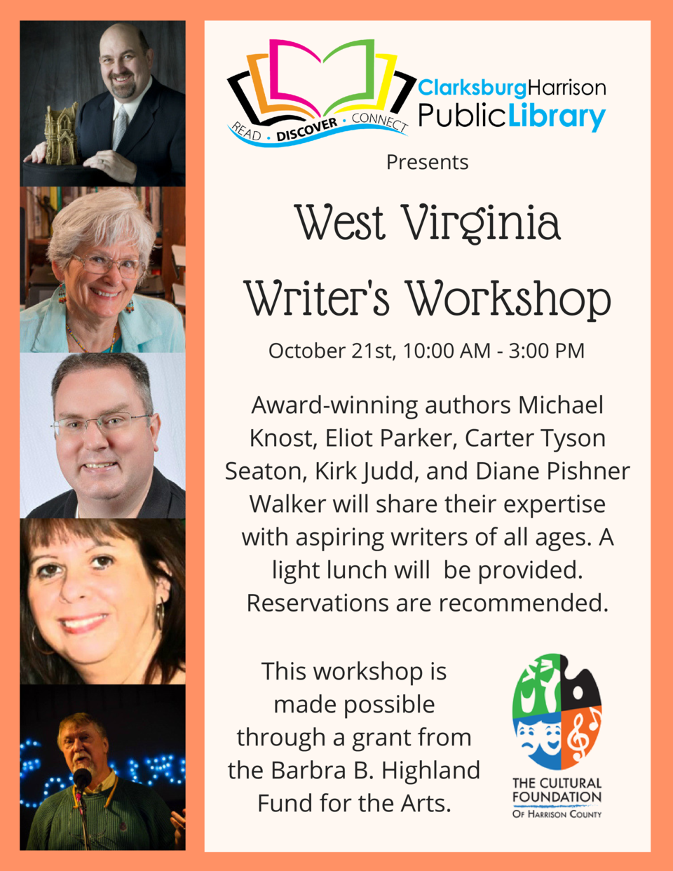 Presents  West Virginia Writer s Workshop October 21st, 10 00 AM - 3 00 PM  Award-winning authors Michael Knost, Eliot Par...