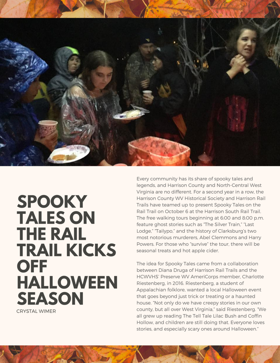 SPOOKY TALES ON THE RAIL TRAIL KICKS OFF HALLOWEEN SEASON  CRYSTAL WIMER  Every community has its share of spooky tales an...