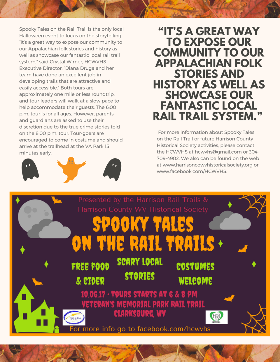 Spooky Tales on the Rail Trail is the only local Halloween event to focus on the storytelling.    It   s a great way to ex...