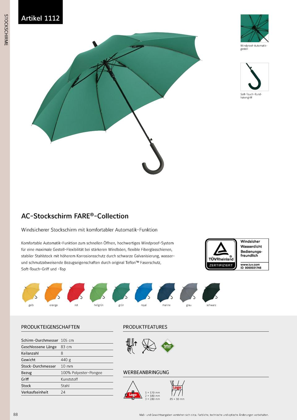 1112  STOCKSCHIRME  Artikel 1112  Windproof-Automatikgestell  Soft-Touch-Rundhakengriff  AC-Stockschirm FARE  -Collection ...