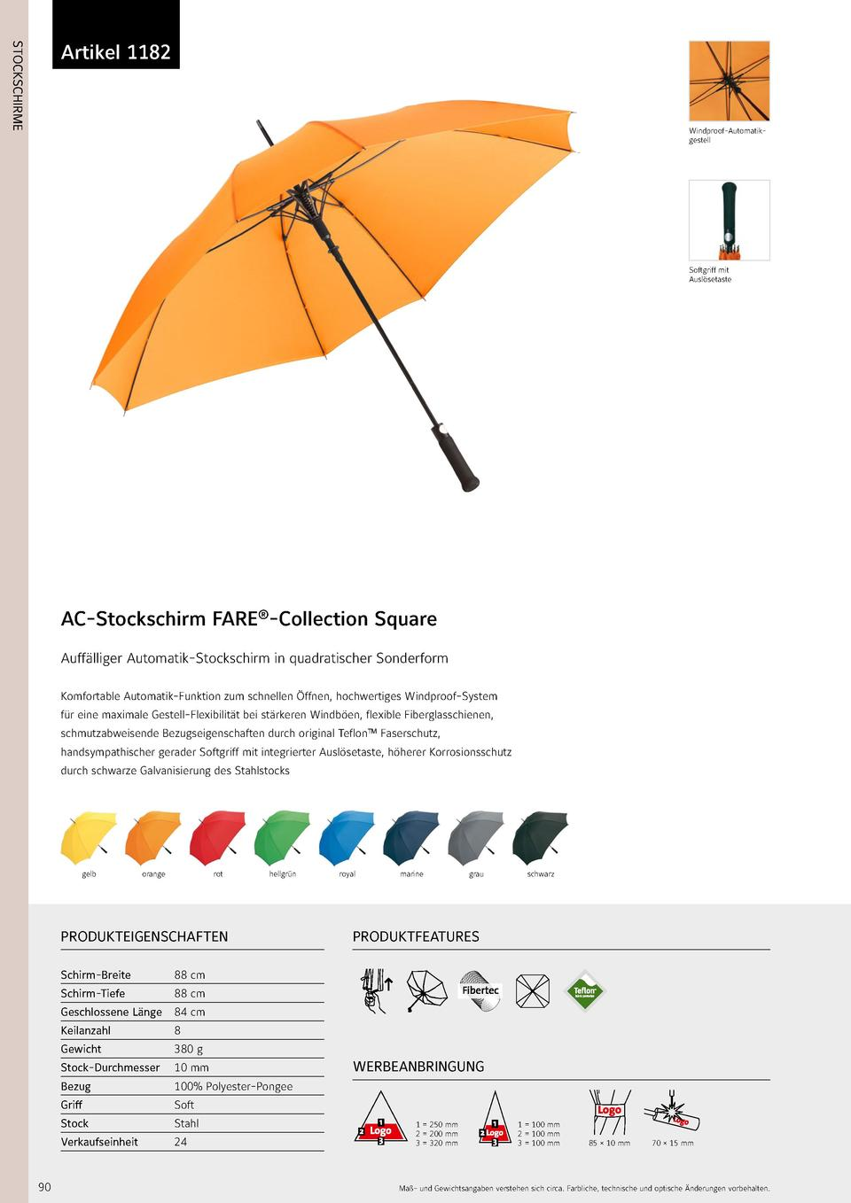 1182  STOCKSCHIRME  Artikel 1182  Windproof-Automatikgestell  Softgriff mit Ausl  setaste  AC-Stockschirm FARE  -Collectio...