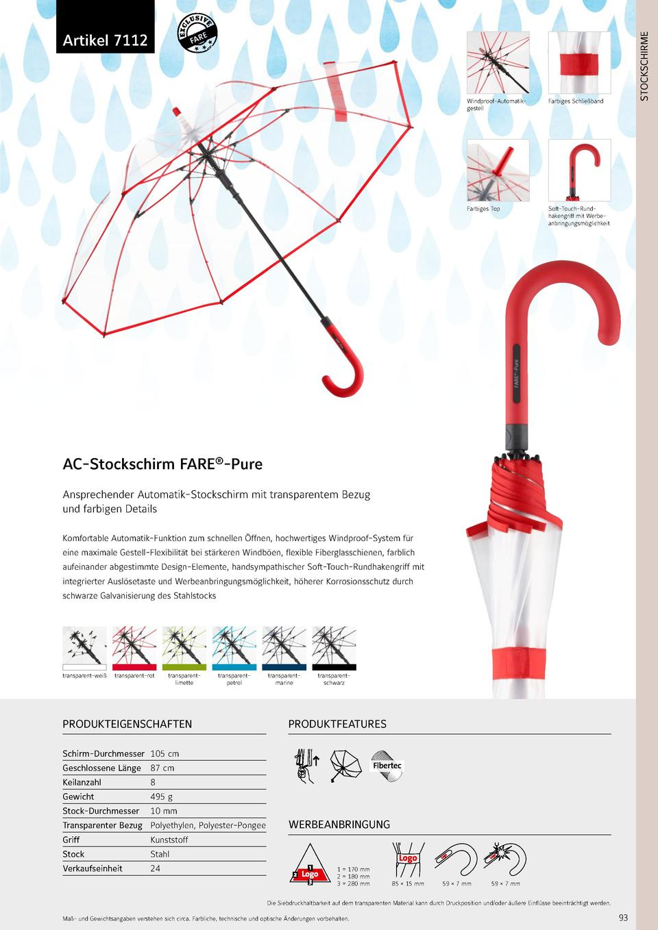 STOCKSCHIRME  7112  Artikel 7112  Windproof-Automatikgestell  Farbiges Schlie  band  Farbiges Top  Soft-Touch-Rundhakengri...
