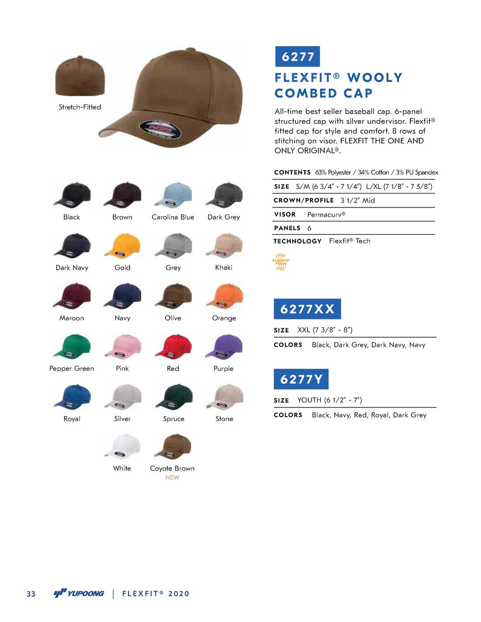 6277 FLEXFIT   WOOLY COMBED CAP Stretch-Fitted  All-time best seller baseball cap. 6-panel structured cap with silver unde...