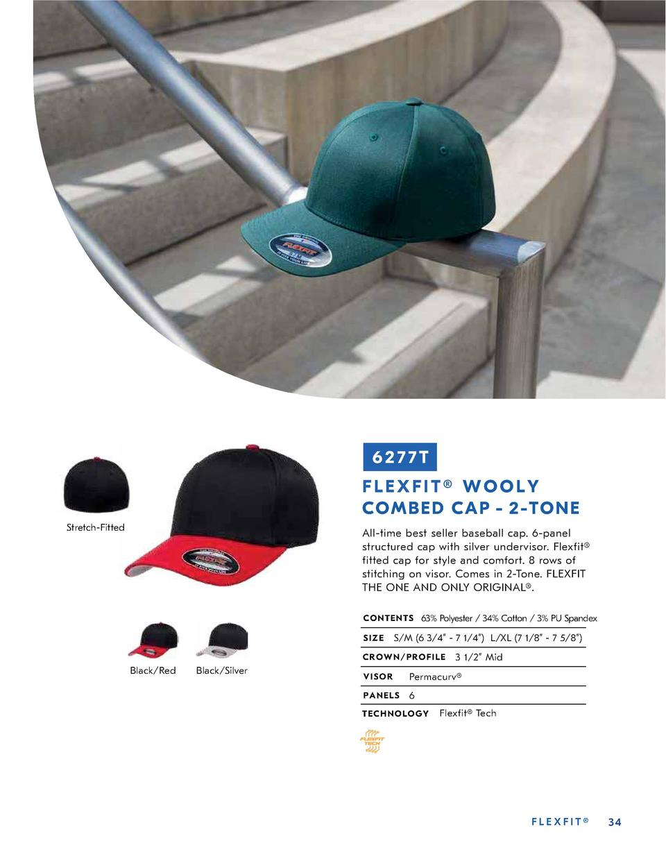 6277T FLEXFIT   WOOLY CO MBE D CAP - 2- TO NE Stretch-Fitted  All-time best seller baseball cap. 6-panel structured cap wi...