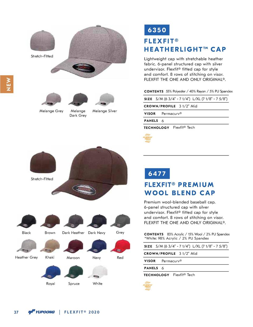 6350 FLEXFIT   H E A T H E R L I G H T TM C A P Stretch-Fitted  N EW  Lightweight cap with stretchable heather fabric. 6-p...
