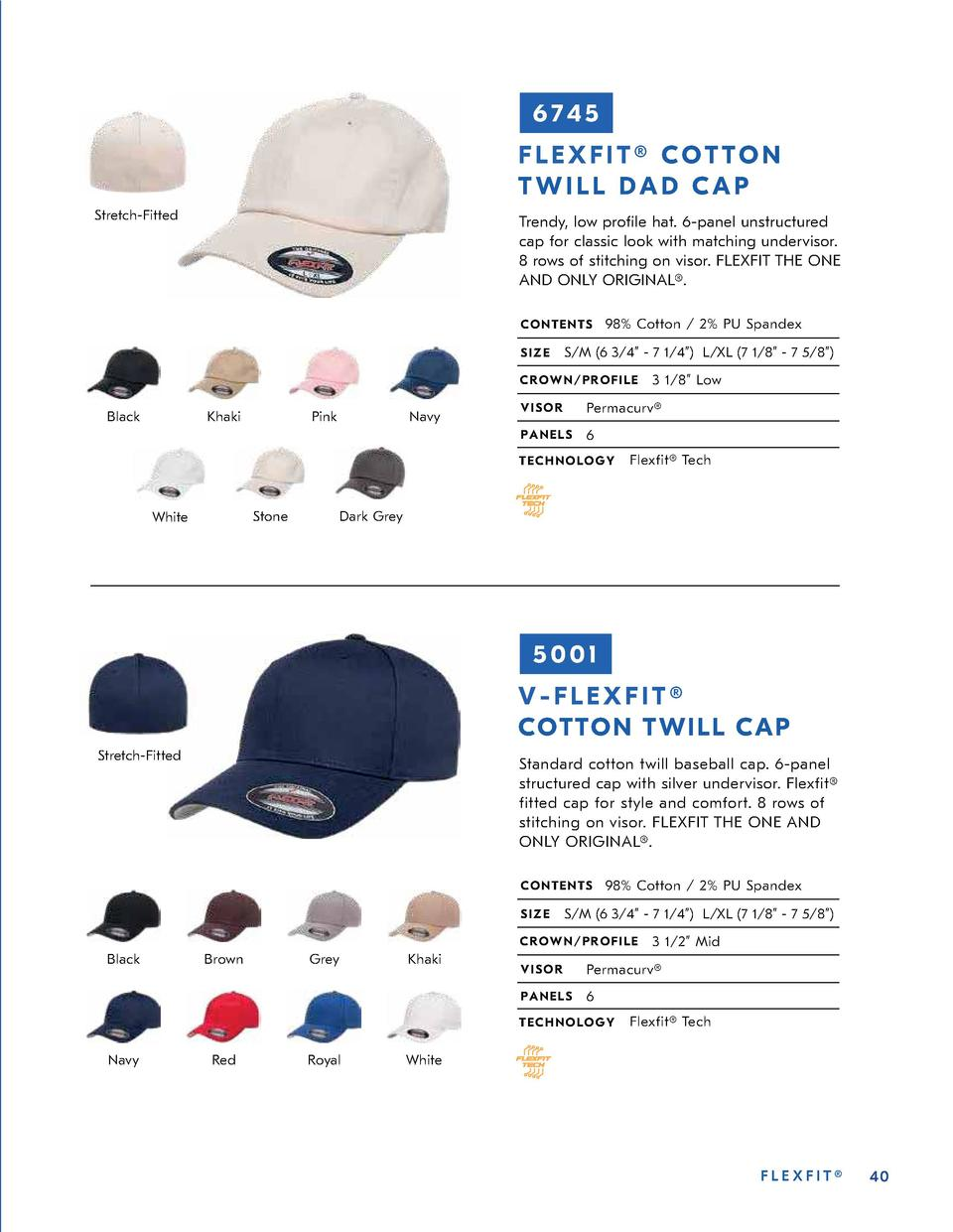 6745 FLEXFIT   COTTON TWILL DAD CAP Stretch-Fitted  Trendy, low pro  le hat. 6-panel unstructured cap for classic look wit...
