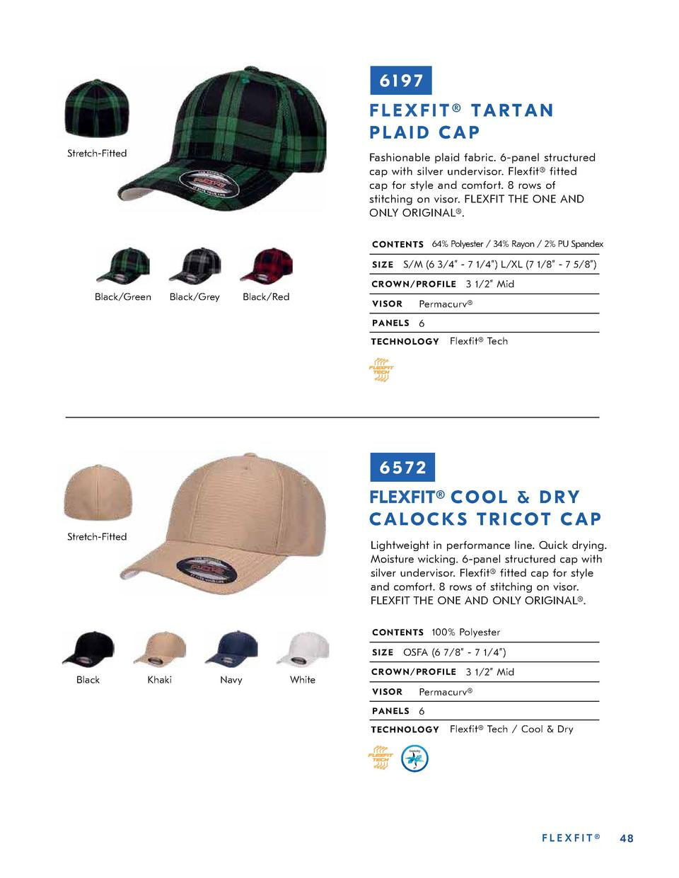 6197 FLEXFIT   TARTAN PLAID CAP Stretch-Fitted  Fashionable plaid fabric. 6-panel structured cap with silver undervisor. F...