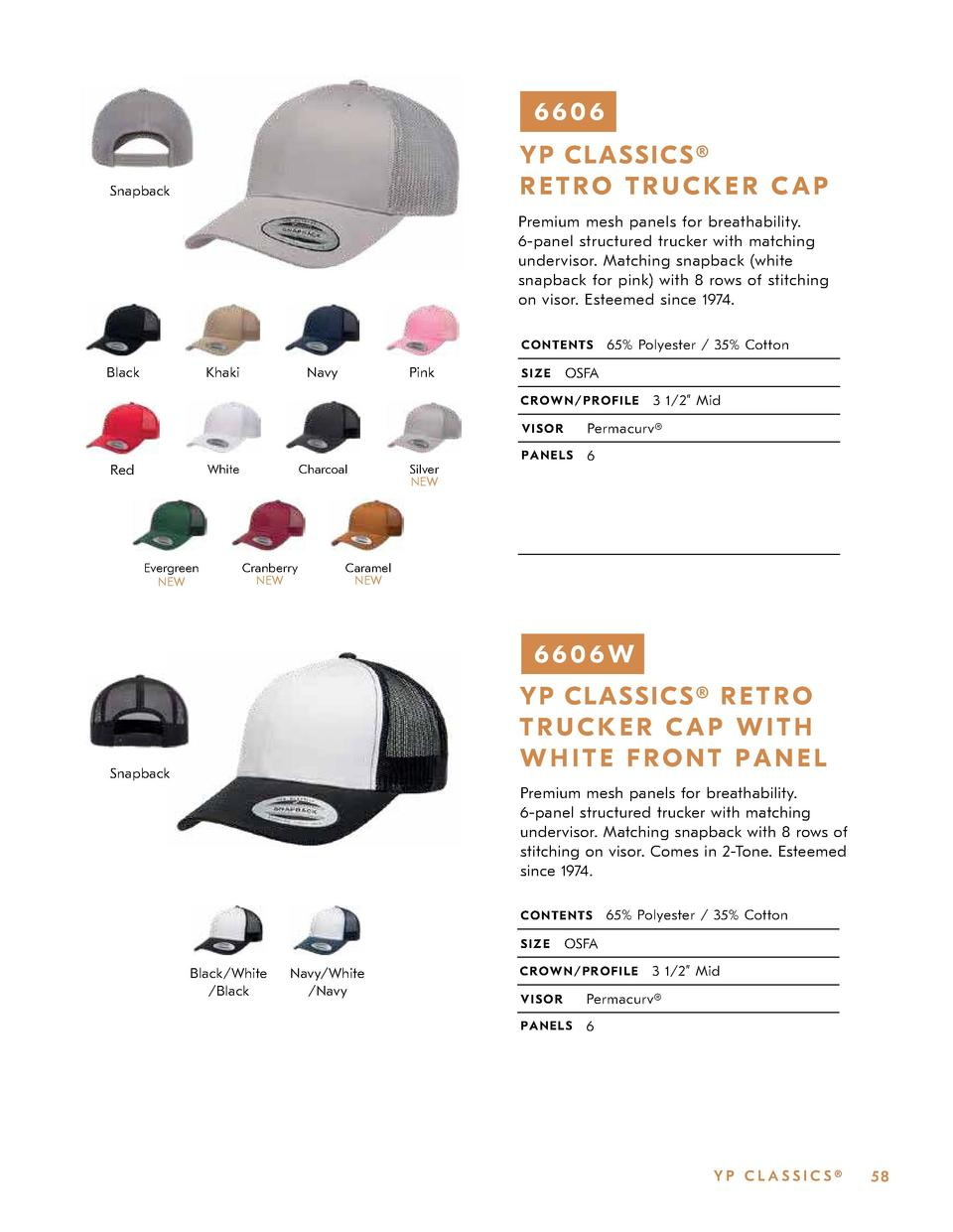 6606 Y P CLAS S ICS   RETRO TRUCKER CAP  Snapback  Premium mesh panels for breathability. 6-panel structured trucker with ...