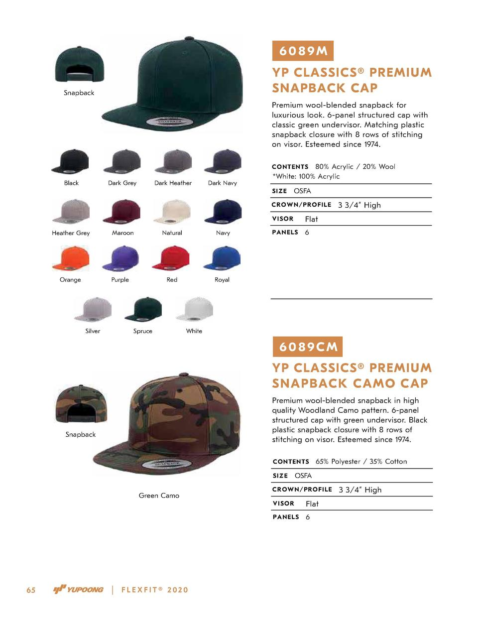 6089M YP CLASSICS   PREMIUM SNAPBACK CAP  Snapback  Premium wool-blended snapback for luxurious look. 6-panel structured c...