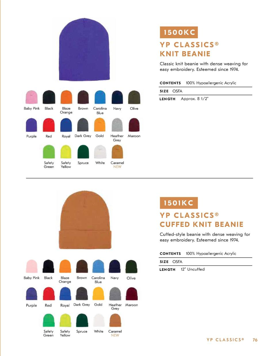 1500KC YP CLASSICS   K N IT BE AN IE Classic knit beanie with dense weaving for easy embroidery. Esteemed since 1974. 100 ...