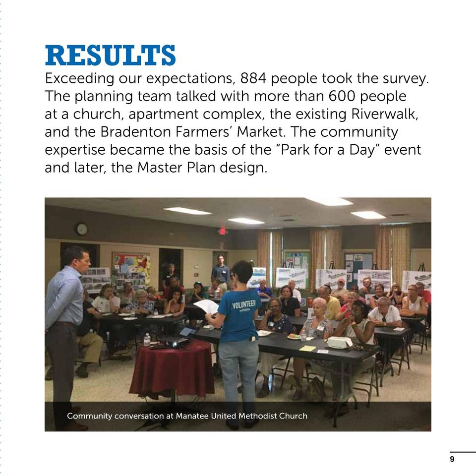 Results  Exceeding our expectations, 884 people took the survey. The planning team talked with more than 600 people at a c...