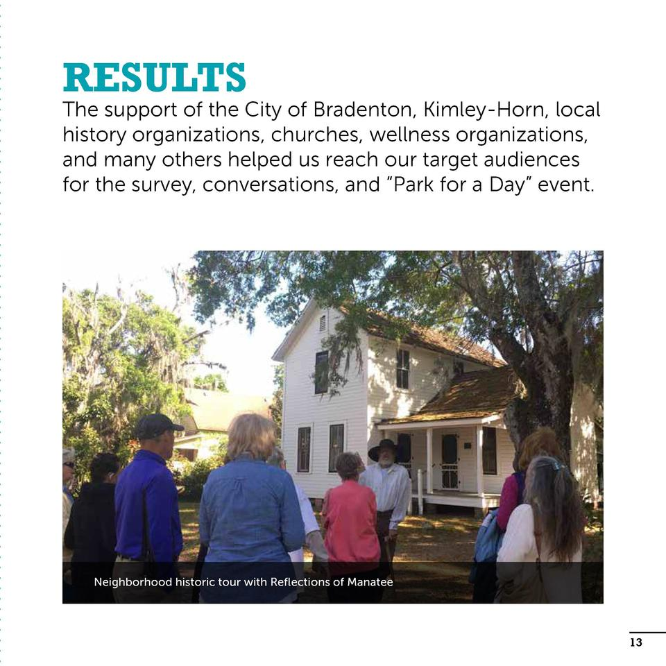Results  The support of the City of Bradenton, Kimley-Horn, local history organizations, churches, wellness organizations,...